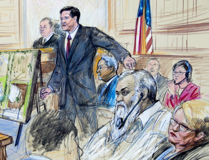A sketch depicting Khattalah in court on Oct. 2.