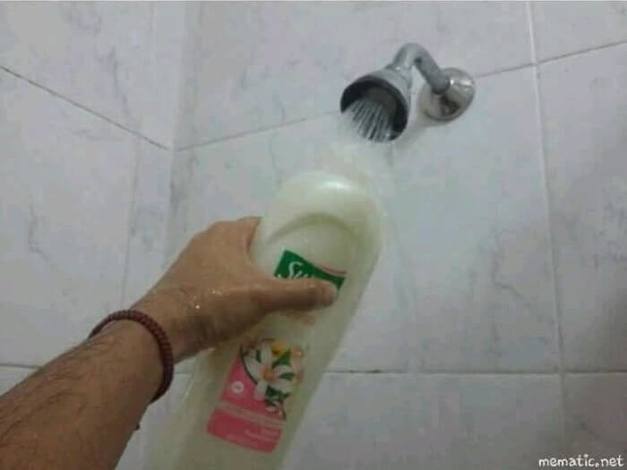 And, when you're getting down to the wire, mixing water with the shampoo to make it last a liiiiiittle longer: