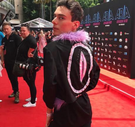 Internet sensation Alan Tsibulya was sure to model his... uh, clitoris jacket: