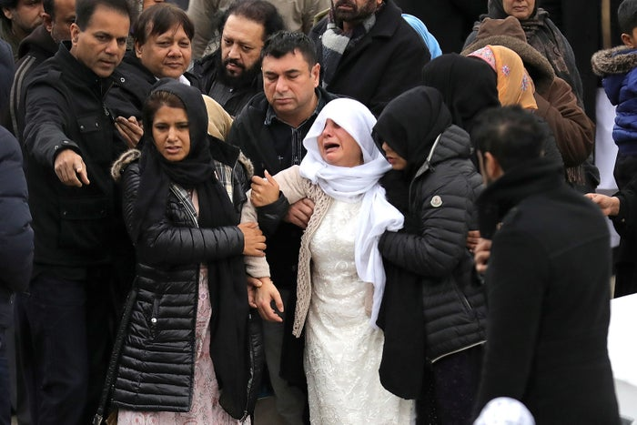 6 January, Huddersfield: The mother of Yassar Yaqub, who was was shot dead by police through the windscreen of a silver Audi on 3 January, is comforted as she leaves the Jamia Masjid Bilal mosque after funeral prayers for her son.