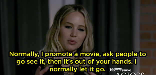 Jen said normally, once she's done promoting a movie, she's done with it when she gets home.