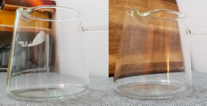 A before and after comparison of a jug with a bit of stuck on label and the same jug with no label at all
