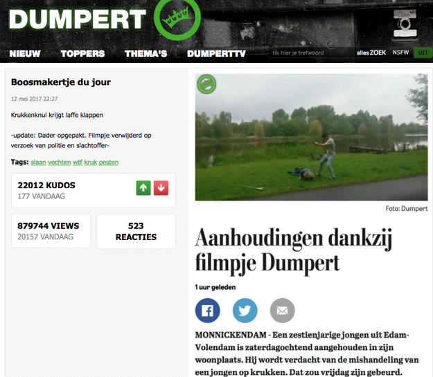 The video first appeared on a Dutch video site, Dumpert.nl, on May 13, 2017, the fact-checking website Snopes reported. The original title did not reference Muslims or migrants.