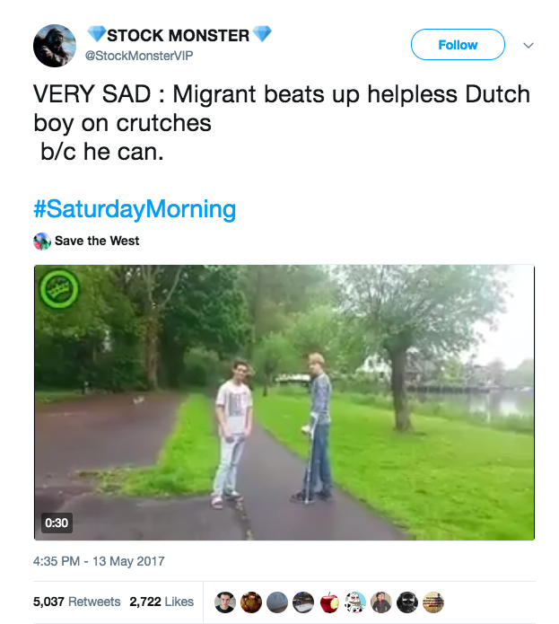 "So how did the words ""Muslim"" and ""migrant,"" associated with a video showing a Dutch boy beating up another Dutch boy, appear? It looks like it began with a pro-Trump Twitter account."