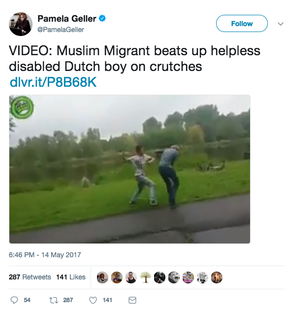 Geller also tweeted a link to her story containing the video.