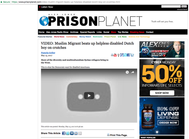 "The next day, Alex Jones' website Prison Planet also posted Geller's post — with ""Muslim Migrant"" in the headline — along with the video."