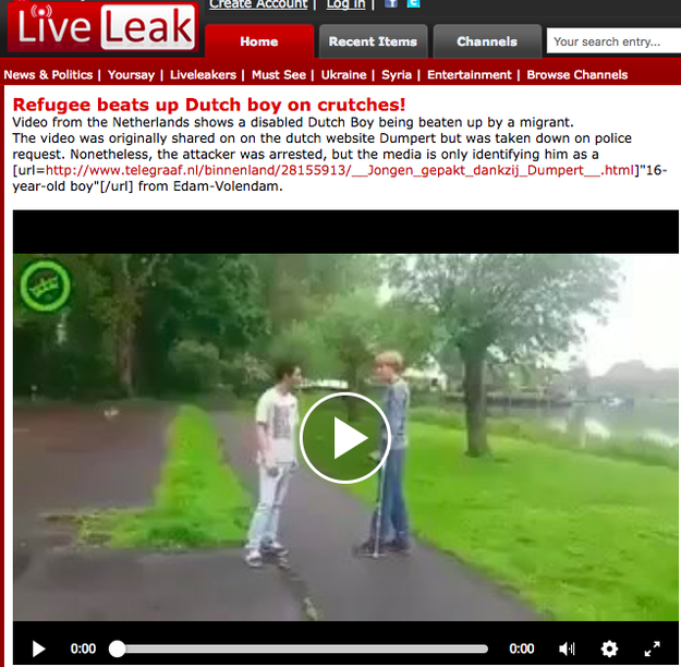 Months after the words Muslim and migrant were added to the video, it reappeared on the video-sharing website, LiveLeak, on August 28, 2017, according to Snopes.