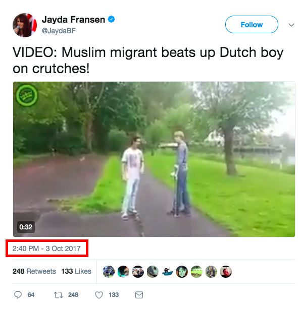 A little more than a month later, the far-right and fringe British political group's deputy leader, Jayda Fransen, tweeted the video for the first time.