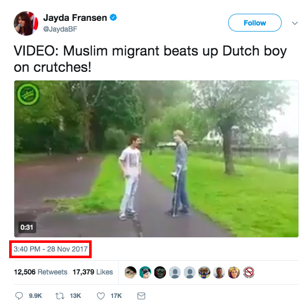 Fransen posted the same video almost two months later.