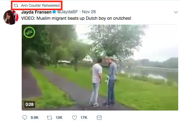 It is unclear how President Trump, who does not follow Jansen, came across the video but conservative writer and commentator Ann Coulter, who Trump does follow, retweeted the video on the same day Fransen posted it for the second time on her account.