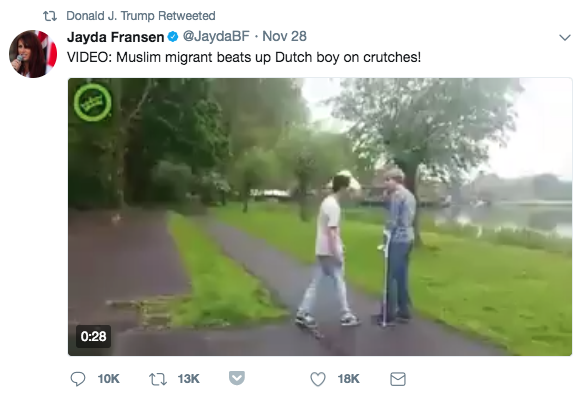 """One of the videos, claiming to show a """"Muslim migrant"""" assaulting a """"Dutch boy on crutches,"""" is false. But it lived for for months on pro-Trump Twitter accounts and in anti-Muslim fever swamps online. Here's the history of the the video's journey to the president's Twitter account."""
