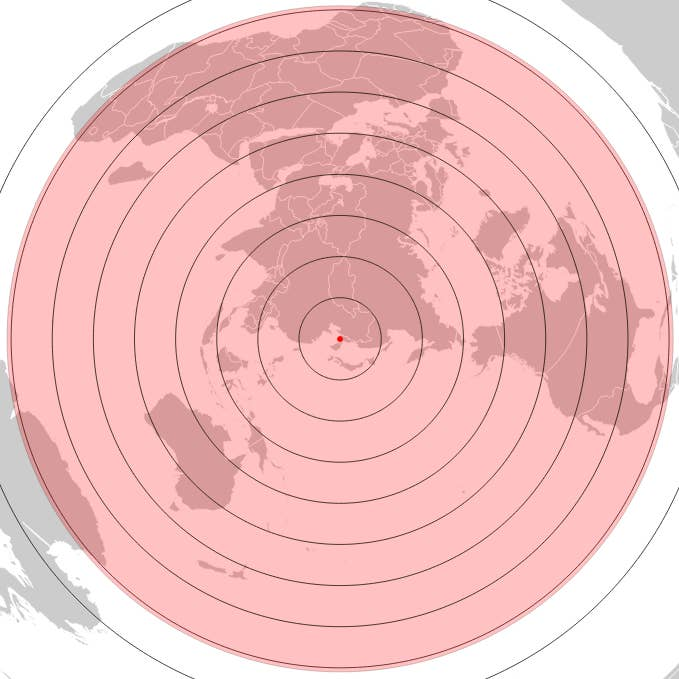 A map shows the likely range of the Hwasong-15, estimated by David Wright of the Union of Concerned Scientists.
