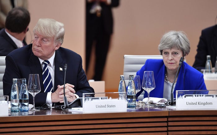 President Trump, left, and Britain's Prime Minister Theresa May at a G20 meeting in July 2017.