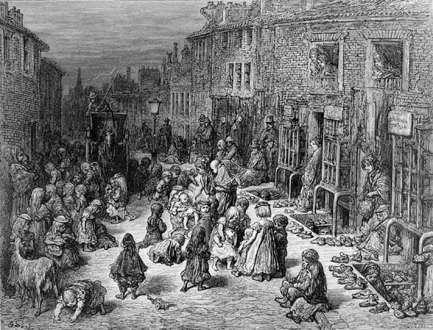 """The worst mortality rates of all were in the slums, particularly the notorious Seven Dials area of London, and Angel Meadow, a Manchester slum so terrible it was nicknamed """"hell on earth"""". Over 30,000 workers, mostly Irish immigrants, were crammed into just one square mile, and many Angel Meadow children were left to fend for themselves and survived on scavenged scraps; some even ate stray cats."""
