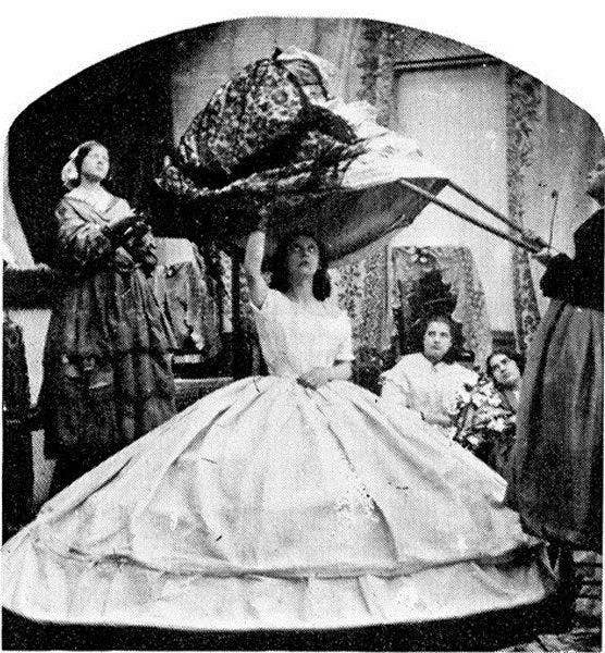 """The """"crinoline period"""" ran from 1850 to 1870, and involved layering several (increasingly ornate) skirts over a large wooden hoop to create truly massive outfits. As well as obstructing doors, crinoline-clad women frequently set themselves on fire by brushing against candles, so the trend didn't last that long. Satirical magazine Punch advised husbands to register their wives at the fire insurance office."""