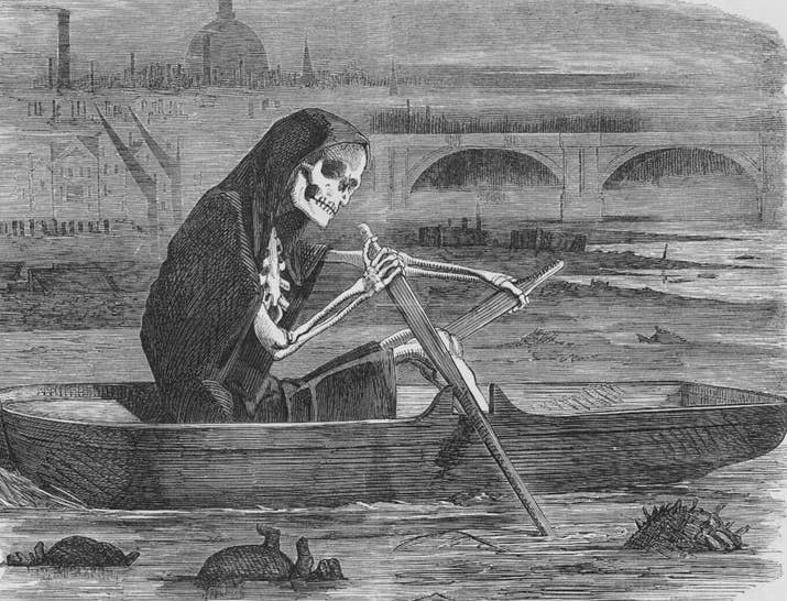 By 1860 thousands of tons of raw fecal matter was being dumped into the Thames on a daily basis as there was no other repository for sewage. Oh, and it was also the main source of drinking water for the city, too. People died in their thousands from dysentery, cholera and typhoid. People thought the contaminated air was making them ill. Nope.