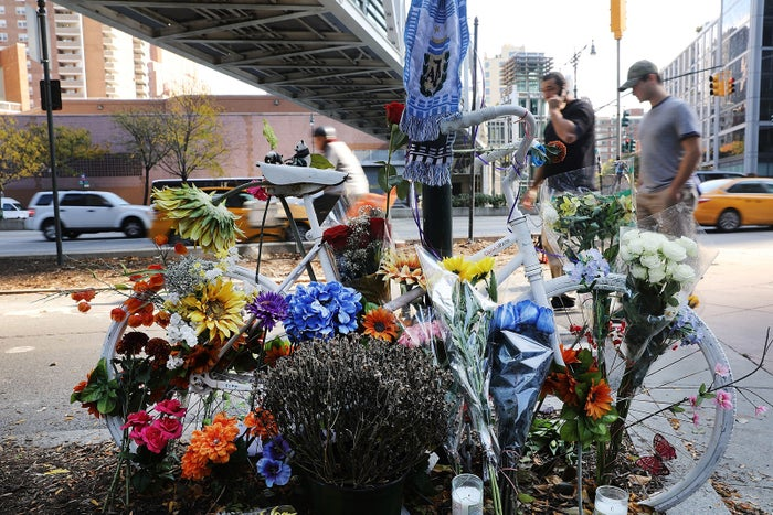 A memorial at the scene of Tuesday's terrorist attack in lower Manhattan.