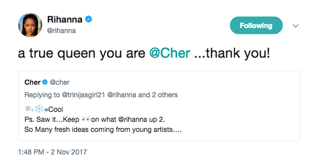 Rihanna and Cher fangirled over each other.