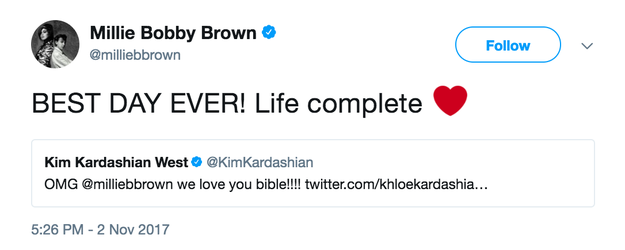 And when she saw Kim's tweet she said her life was complete.