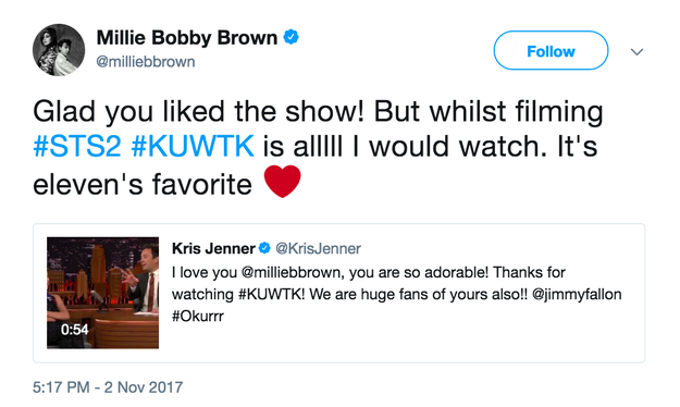 She said that she watched KUWTK throughout the filming of Stranger Things 2.