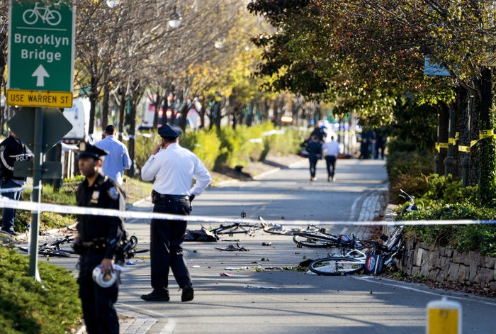 Bicycles and debris are strewn on a bike path after a motorist drove onto the path near the World Trade Center memorial, killing eight people and injuring at least 11 others on Oct. 31.