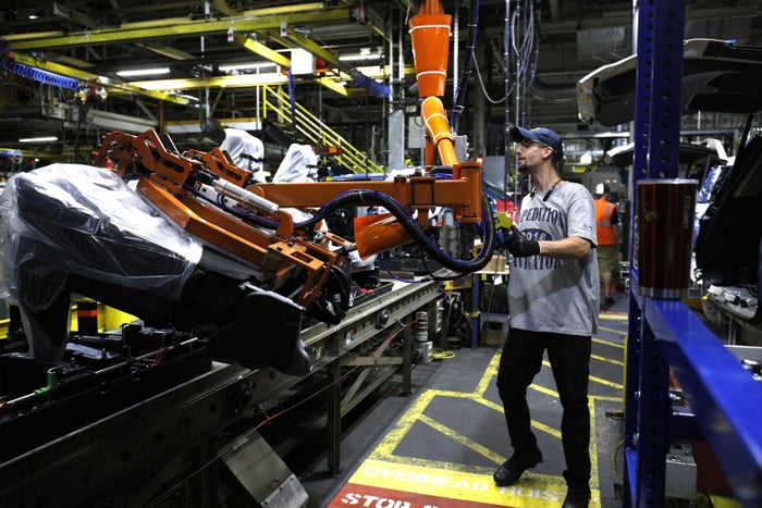 The all-new 2018 Ford Expedition SUV goes through the assembly line at the Ford Kentucky Truck Plant October 27, 2017 in Louisville, Kentucky.