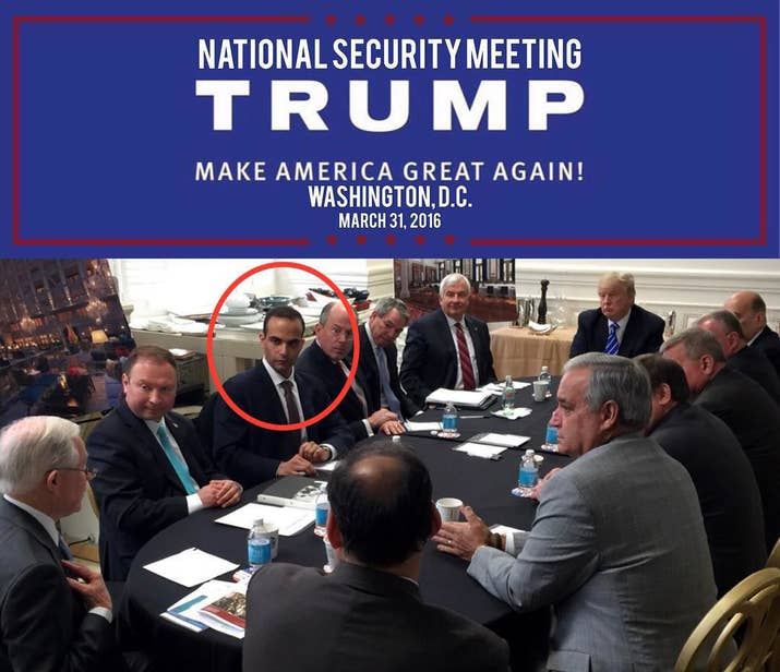Papadopoulos, circled, at a meeting with Trump in March 2016.