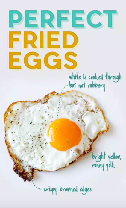 For perfect fried eggs, crack your eggs directly onto a hot skillet coated in canola oil.