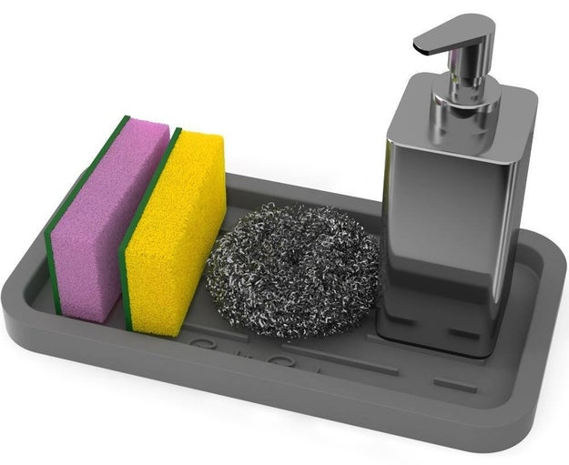 A countertop tray with enough grip to keep your sink essentials in place exactly where you want them, lest someone get confused as to where the scrubbing sponge goes.