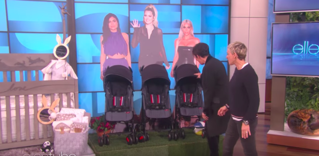 And though Kris didn't deny any of what Ellen was saying, she WAS careful to only touch the stroller pushed by the cardboard Kim.