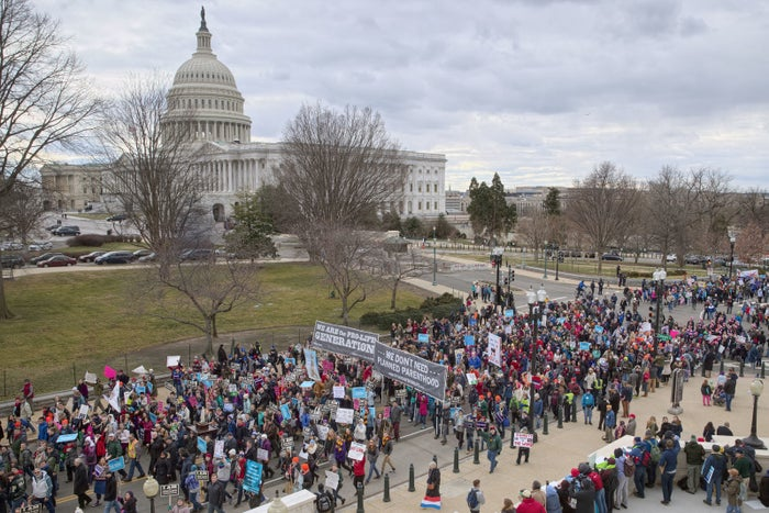 Anti-abortion demonstrators arrive on Capitol Hill in Washington during the March for Life in January.