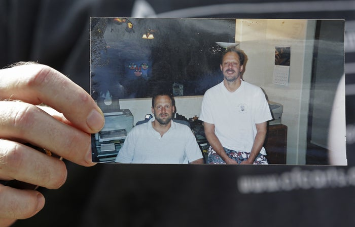 Stephen Paddock, right, is shown in a family photo held by his brother Erick Paddock.