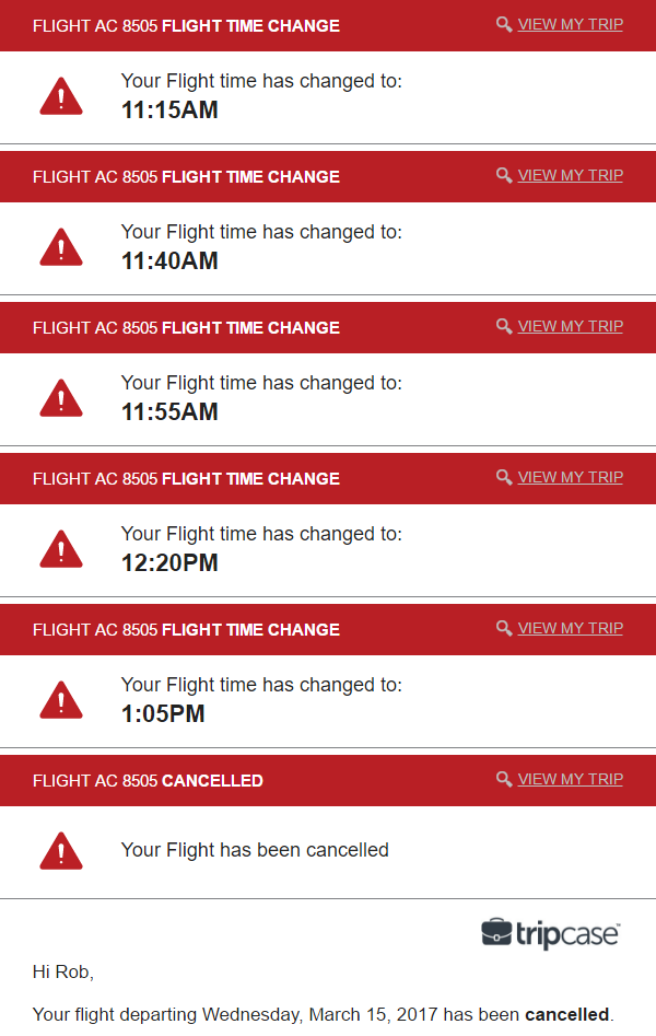 Speaking of flying, this series of unfortunate events: