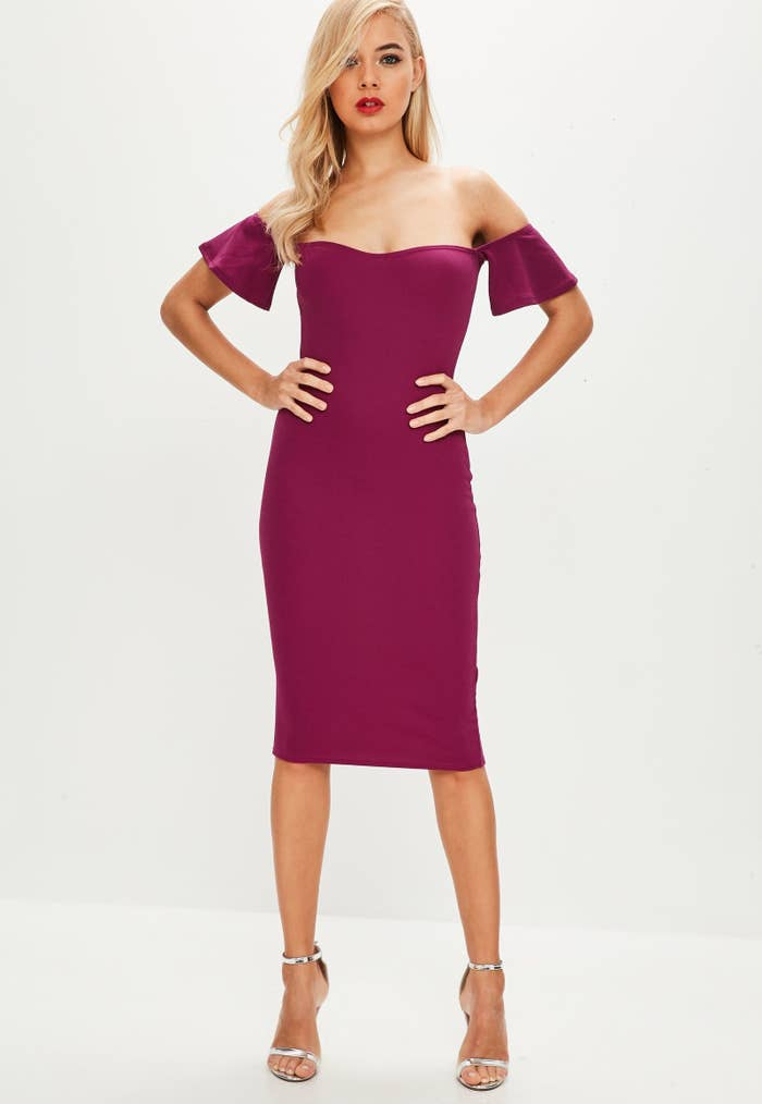 a8172bd637a4 A playful bardot bodycon dress to have an extra *belle* in the ceremony.