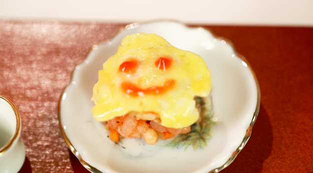 And then there's Rie's tiny edible work of art, the smallest omurice dish you've probably ever seen!