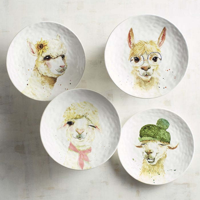 Every set includes 4 accent plates, each with a different illustration of an adorable alpaca to fawn over. Get it from Pier One for $34.95.