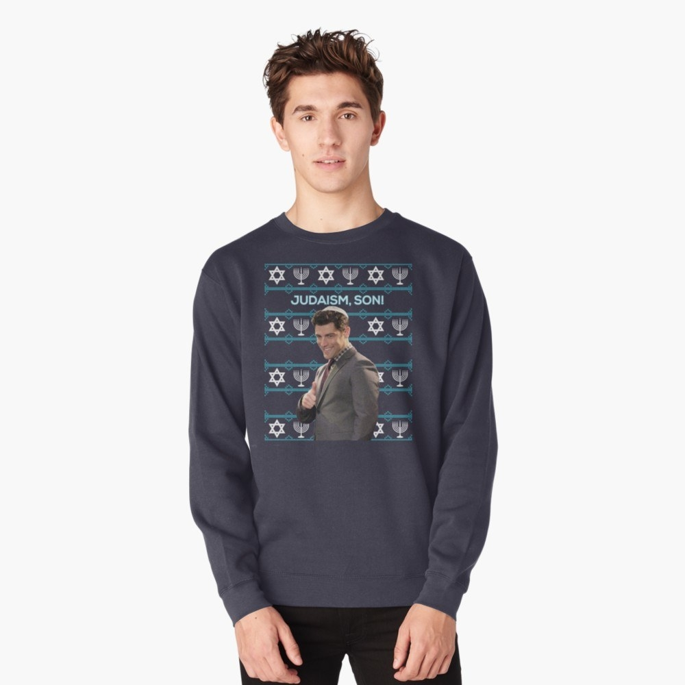 Basic Editions Men/'s Holiday Crew Neck Sweater Happy Challah Days