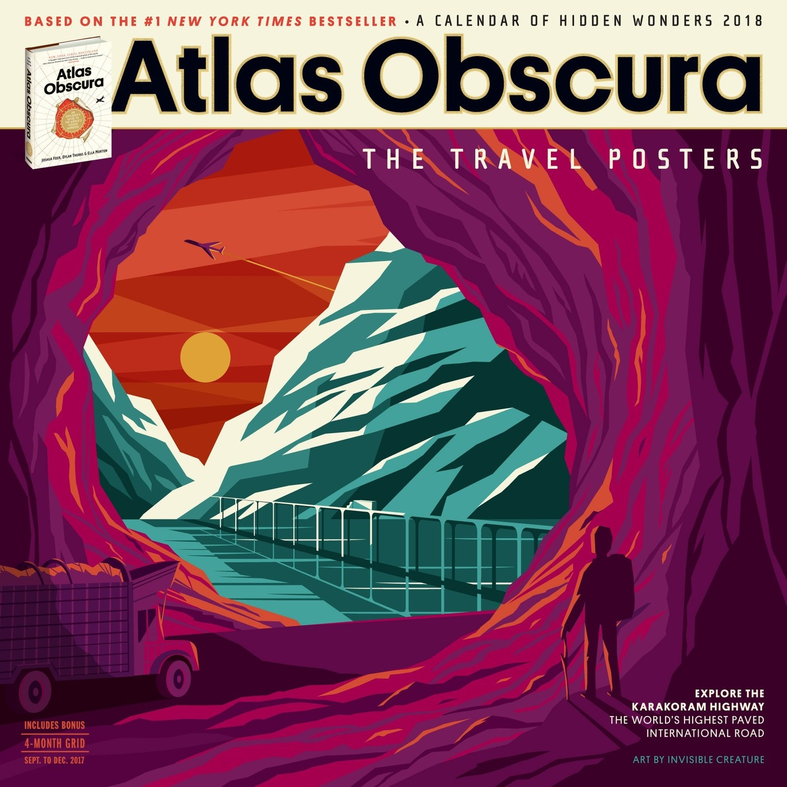 A Wall Calendar Featuring Vintage Style Travel Posters Of 12 Strange And Wondrous Locations