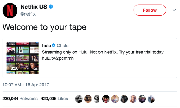 When Netflix was having none of Hulu's shit: