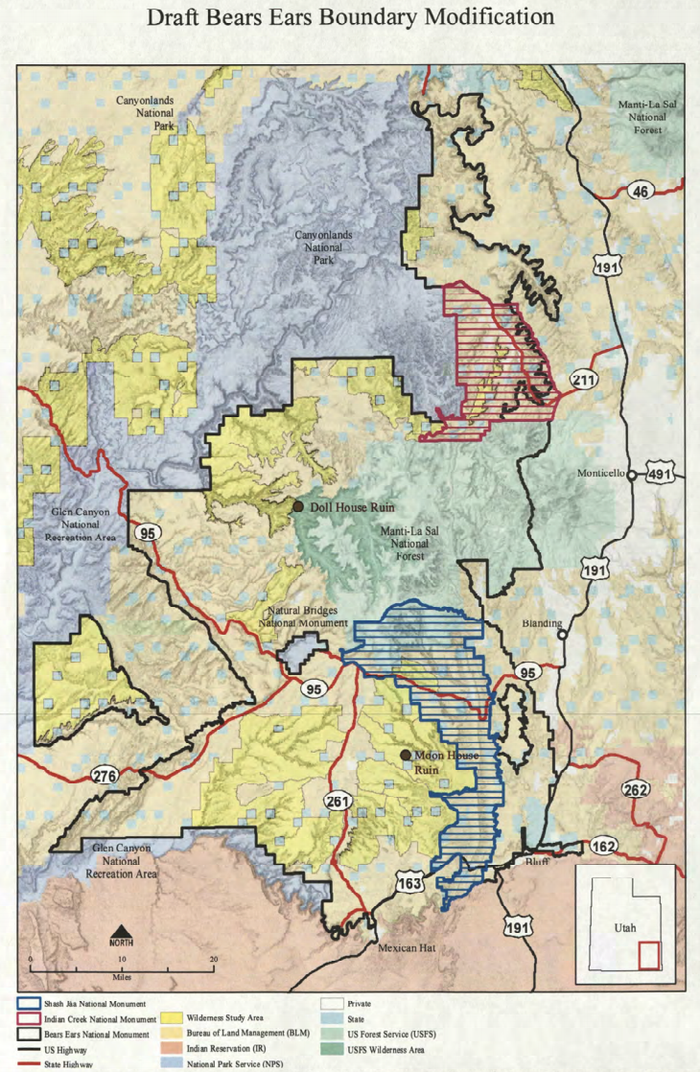 A map obtained by the Wilderness Society shows planned reductions to Bears Ears National Monument in southeastern Utah.