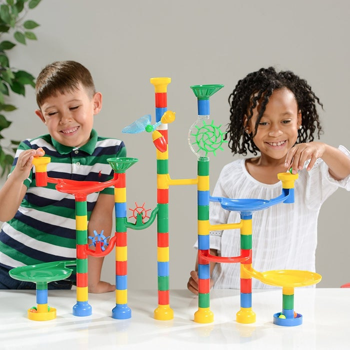 —rachels4afd1a6efGet it from Amazon for $29.95. This particular set comes with 85 track pieces and 50 marbles.You can also get a larger 122-piece set for $40.99.You can also get an on-sale marble run (with 75 building blocks and 30 marbles) from Walmart for $25.94 (on sale from $59.99).