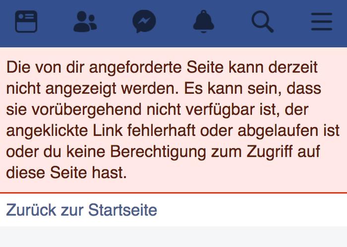 So sieht es aus, wenn Nutzer versuchen die Facebook-Seite des Ministers auf dem Handy aufzurufen.