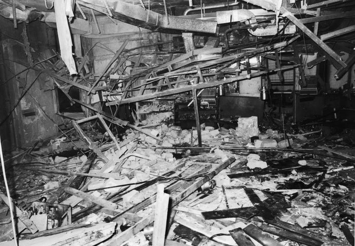 The wreckage of the Mulberry Bush pub in Birmingham, the day after it was bombed by the IRA.