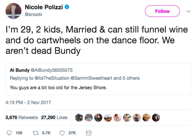 Snooki, meanwhile, tweeted 🔥🔥🔥 back at someone who said the OG cast was too old for a reboot. It went viral.