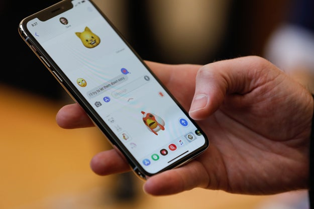 One of the cool new features are the Animojis, emojis that sync up to your live facial expressions.