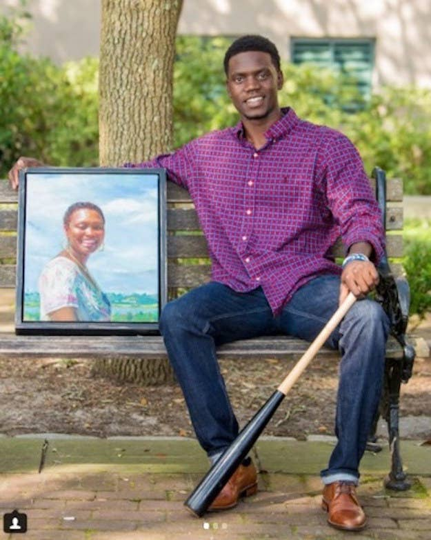 Singleton with a photo of his mother.
