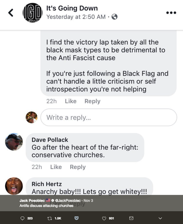 """Hours after the shooting, an old tweet about """"antifa,"""" anti-fascists, sent by pro-Trump commentator Jack Posobiec, a frequent source of misinformation, began circulating again. His tweet was sent before the shooting and contains an alleged text message exchange between antifa members and supporters."""