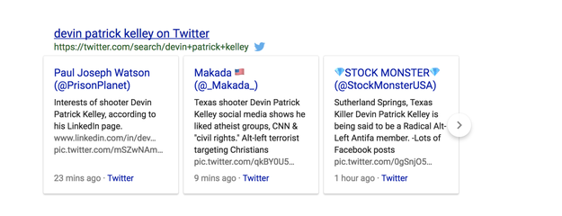 """Google also gave the false conspiracy a boost. Searches for the name """"Devin Patrick Kelley"""" brought up false tweets about him being affiliated with the anti-fascist group."""