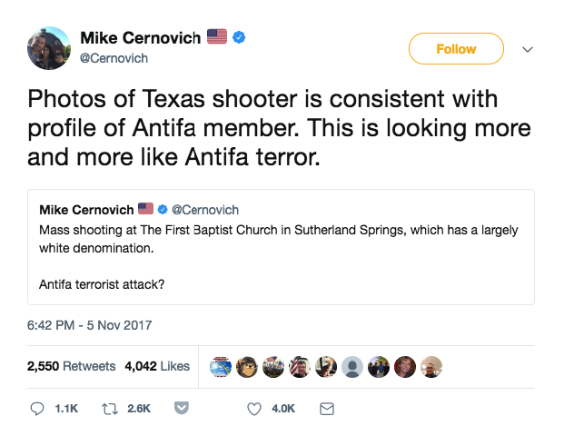 At the same time, other pro-Trump commentators began openly speculating that the shooter was connected to the anti-fascist group.
