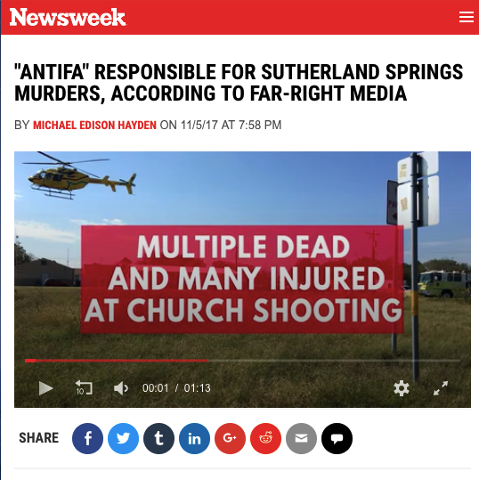 The false conspiracy also hit the mainstream media. One outlet that picked it up was Newsweek, which didn't refute the misinformation in the headline.